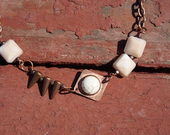 Asymmetrical Copper, howlite, and glass bead necklace