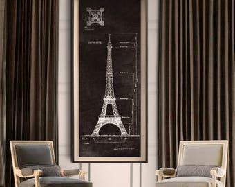 Eiffel Tower Blueprint : Vintage Eiffel Tower Blue print poster print 1889 Giclee Print