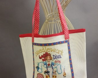 Mesh Tote. 'Needlework Diva on Duty' Red and White Bag with Shoulder Straps. Project, Market or Beach Bag. From MDS Creative.