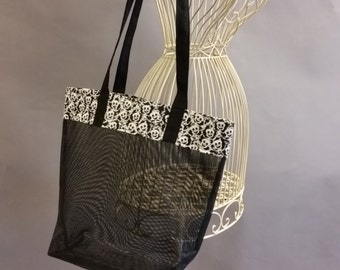 Mesh Tote. Black and White Ghost Bag with Long Shoulder Straps. Halloween. Project, Market or Beach Bag. From MDS Creative.