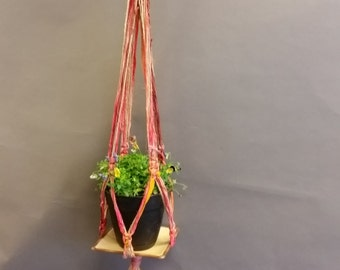 Plant Hanger, Decorative. Made From Re-Purposed Silk Sari Yarn Ribbon. Macrame Knots. Vintage Ceramic Plate.