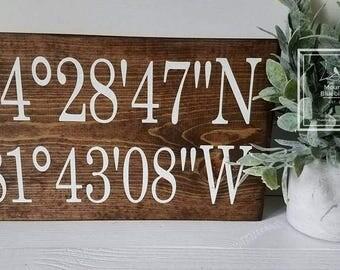 Farmhouse Decor - Coordinates Sign - Farmhouse Signs - Coordinate Signs - GPS Sign - Farmhouse Style Sign - Coordinates