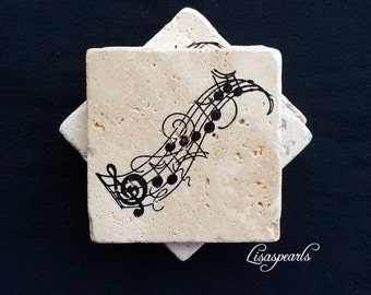 4 music coasters, travertine natural stone tile . 4x4 inches
