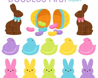 Bunny Treats and Peeps Digital Clip Art for Scrapbooking Card Making Cupcake Toppers Paper Crafts