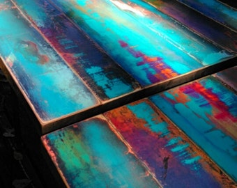 custom pub table, cafe table, bistro table, colorful patina, reclaimed wood. pipe leg frame. industrial. rustic