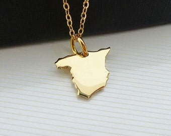 14K Gold Plated Spain Necklace - Spain Map Necklace -  Yellow Gold Necklace - Love Spain Necklace