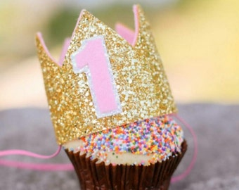First Birthday Glitter Crown || Birthday Girl || Birthday Party Hat || Cake Smash || 1st Birthday || Birthday Crown || Pink and Gold