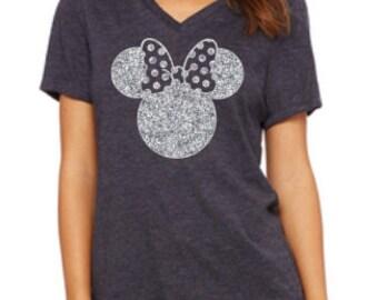 Disney Shirt // Glitter Minnie Shirt // Disneyland Shirt // Disney shirt for women