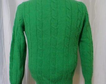 Vintage Wool Sweater (Size: Women's Small/Medium?) Kelly Green Sweater, British Shetland Wool Sweater, Astor One, St Patrick's Day