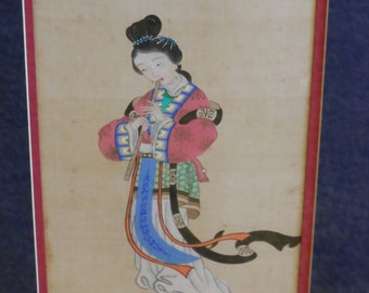 Japanese Lady Playing the Flute. Printed on Cloth. Mid-Century Hollywood Regency Chinoiserie.