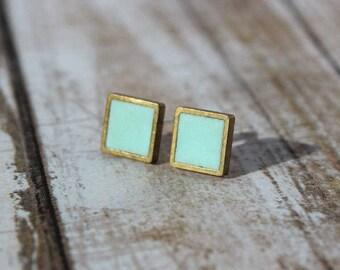 Mini Robins Egg Blue Brass Square Stud Earrings