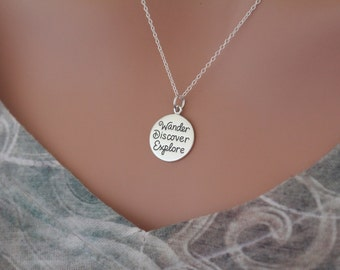 Sterling Silver Wander Discover Explore Pendant Necklace, Wander Discover Explore Necklace, Wander Discover Explore Charm Necklace