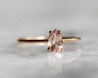 14K Morganite Ring, Pear Morganite Ring, Solitare Ring, Morganite Engagement Ring, Stacking Ring, Minimal, Pink, Blush Stone