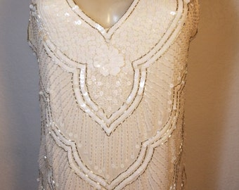 FREE  SHIPPING   1980 Sequin Bead  Blouse