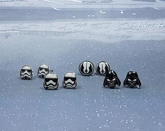 Star Wars Stud Earring Pair, Handmade, The Force Awakens, Stormtrooper, Darth Vader, Jedi Order