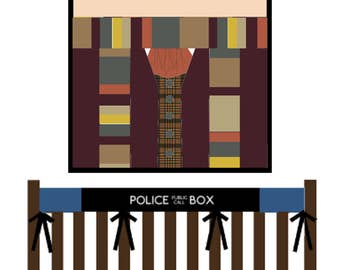 Doctor Who baby bedding--The Fourth Doctor--Custom Crib bedding