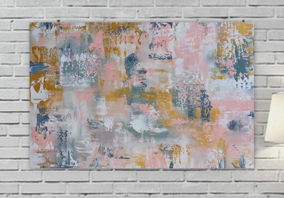 "large pink gold abstract painting 36 x 24 "" Longed For"" Large pink yellow gray wall artOrigina girls room canvas modern contemporary"