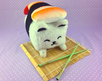 Sushi Cat Plushie | Shrimp Nigiri Plush | Cat Plush Toy | Sushi Plushie