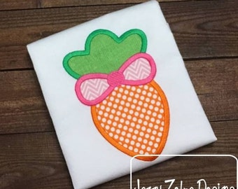 Carrot with Bow Appliqué embroidery design - Easter appliqué design - girl appliqué design - carrot appliqué design