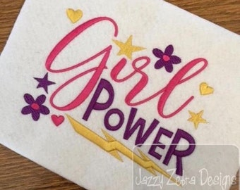 Girl Power saying embroidery design - girl embroidery design