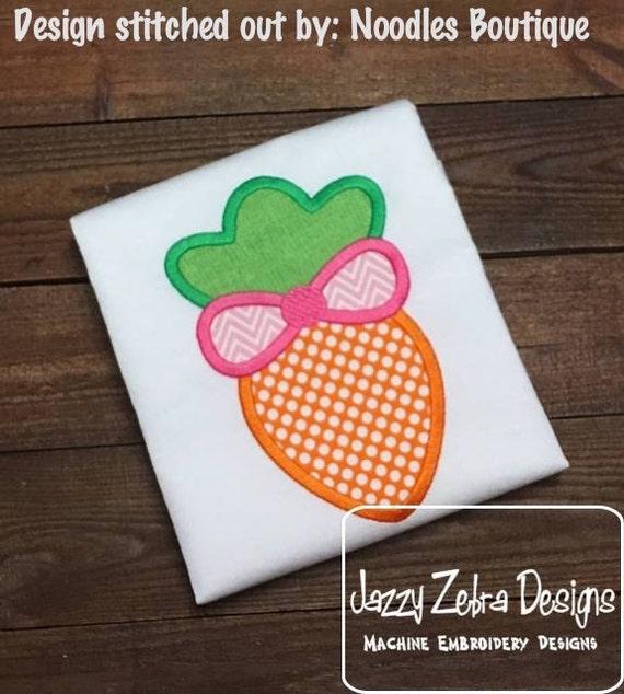 Carrot with Bow Appliqué embroidery design - Easter appliqué design - girl appliqué design - carrot appliqué design