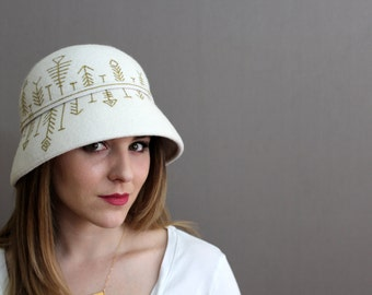 Cream Wool Felt Cloche with Hand Painted Gold Pattern