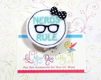Nerds Rule Badge Holder-Embroidered Badge Reel-Nerd ID Holder-Retractable ID Badge Holder-Medical-Office-Badge Reel Clip- (Set of 1)