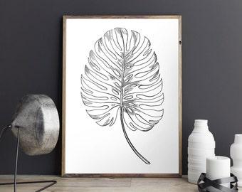 Botanical Print, Tropical Giclee Print, Leaf Poster, Black & White Minimalist, Monstera Fine Art Print, 8x10 11x14 16x20, 18x24 24x30 Poster