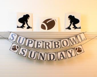 SUPERBOWL DECORATION BANNER Party Sign, Superbowl Party Decor, Super Bowl Banner and Signs, Super Bowl, Superbowl Football 2017, GameDa