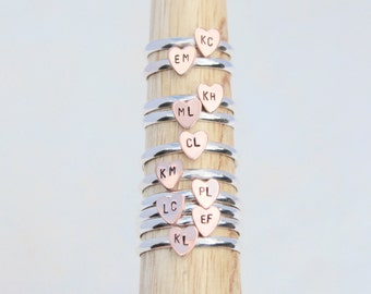 Any Letters.  Tiny Heart ring with hand-stamped personalizations.