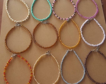 Adjustable seed bead ankle bracelet your choice of colors - seed bead ankles