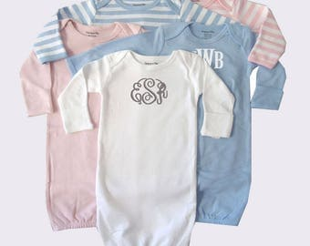 Monogram Embroidered Baby Gown  - Several Colors