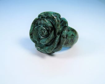 Aqua Green Solid Turquoise Rose Flower Ring - size 7.75