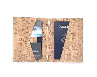Vegan Natural Cork Passport Wallet with Pen Holder, Passport Cover, Travel Wallet
