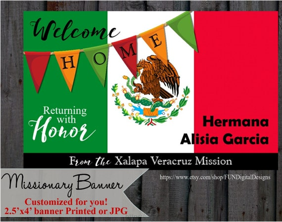 lds missionary welcome home banner printable or printed