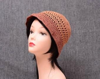 crochet cloche hat, brown brim hat, bohemian sun hat, cotton bucket hat, summer accessories