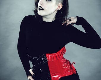 Goth/Punk/Cosplay Red and Black PVC Harley Quinn under bust corset