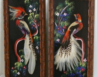 Set of 2 Vintage Mexican Feather Craft Bird Pictures from New Mexico, Hand Painted Background, Exotic Bird Feathers, Mid Century Folk Art
