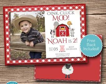 Farm Invitation, Printable Farm Birthday Party Photo Invite, Cow Pig Sheep Barn, Farm Theme, Digital, Personalized, Red, First Second Third