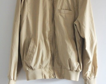 80's Vintage Khaki Lee Members Only Style Lightweight Sport Bomber Jacket