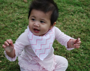 Pink Bandana Baby Scarf - Pink Chevron Baby Scarf - Baby Bandana Scarf - Winter Baby Scarf - Chevron Scarf - Baby Girl Scarf - Bandana Scarf
