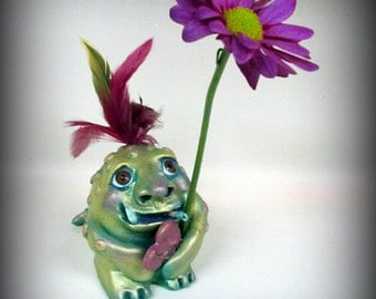 Pistachio~Green Spotted little Valentine Monster~ heart~One of a kind sculpture~Cute~Paper Clay~Feathers~Sweet~Signed original