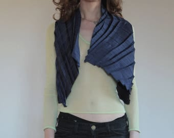 90's Pleats Please imitation navy blue open asymmetrical avant garde top