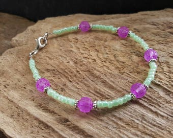 Dainty Pink Green & Tibetan Silver Beaded Bracelet, Seed Bead Bracelet, Boho Hippy Summer