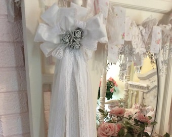 Shabby White Fabric/ Lace Tassel W/ shabby wood roses