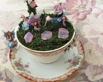 SALE Fairy Garden Teacup & Saucer Arrangement