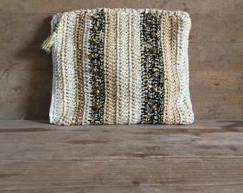 Ibiza style multicolor gold ,white, black, hand bag, handmade crochet cotton bag , summer bag, beach bag, boho ,