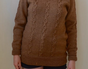 Amazing soft brown cable knit turtleneck pullover sweater- S/M