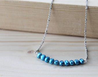 blue fresh water pearl bar necklace, pearl necklace, beach wedding, bridal jewelry, blue jewelry, collier bleu