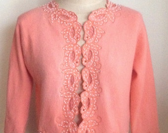 Pretty Vintage 1960's Coral Cropped Wool Sweater/Cardigan with Floral Cut Outs and Beads/Fully lined